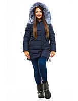 Женская зимняя куртка на молнии и планке на потайных кнопках