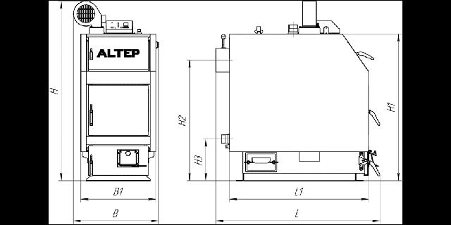 Габаритные размеры котла TRIO UNI TRIO UNI PLUS (КТ-3ЕN) 14-65 кВт