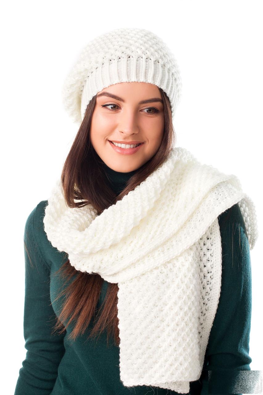 фото комплект вязанной шапки и шарфа