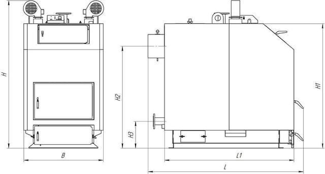 Габаритные размеры котла TRIO UNI/TRIO UNI PLUS (КТ-3ЕN) 80-97 кВт