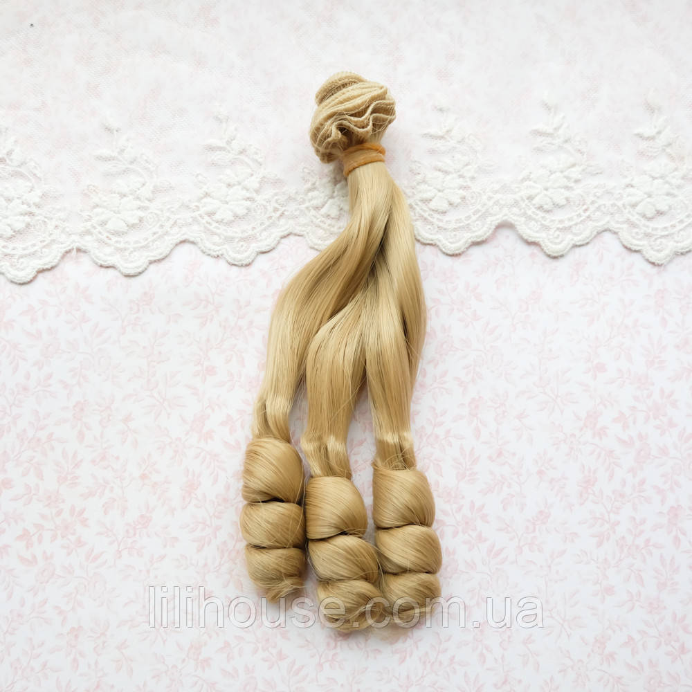 Волосы для кукол кудри на концах в трессах, светло русые - 15 см