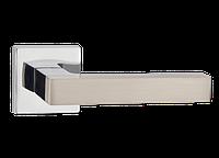 Дверная ручка на розетке MVM Z-1410 SN/CP (матовый никель/полированный хром)