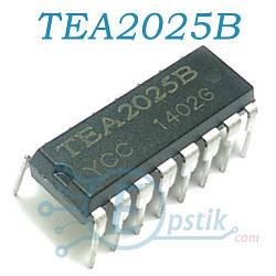 TEA2025B, аудио усилитель стереофонический, 2х2.3Вт, 3-15В, DIP16