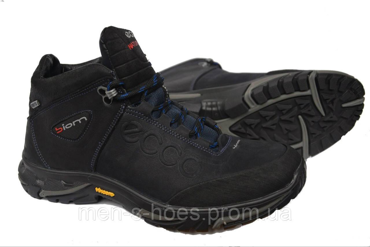 Зимние мужские кожаные ботинки Ecco Natur Motion Blue