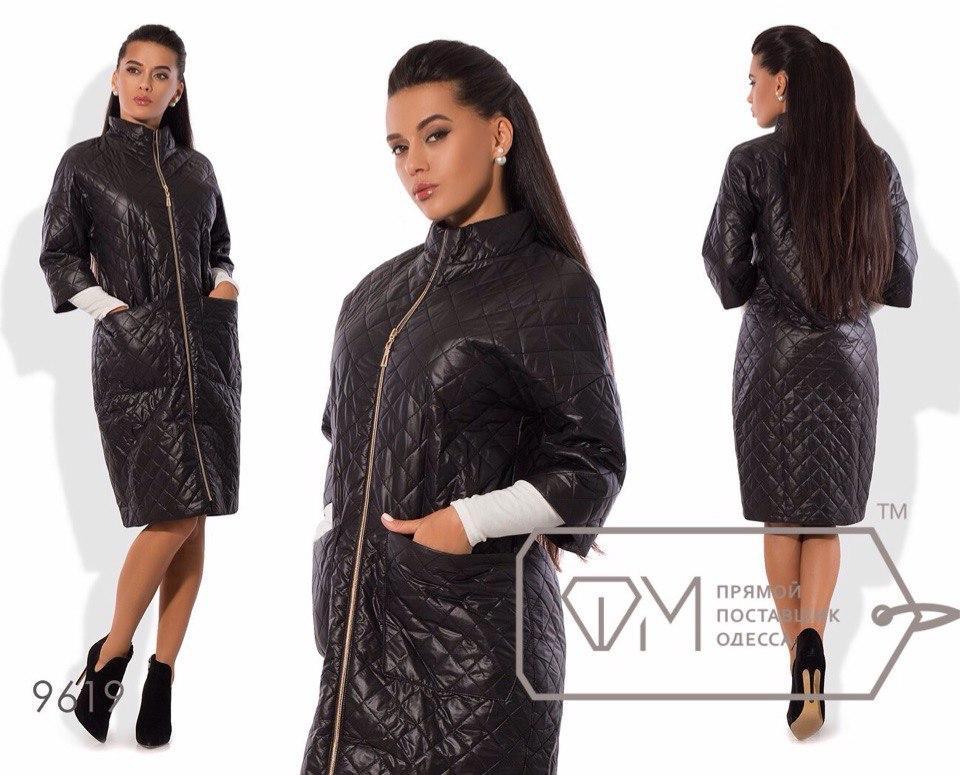 Оригинальное длинное стеганое пальто на молнии укороченный рукав батал и норма