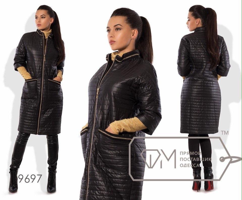 Оригинальное длинное стеганое пальто на молнии укороченный рукав, батал большие размеры