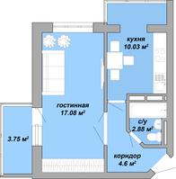 1 комнатная квартира 38,28 метра, ЖК «Akvarelʹ», Таирово