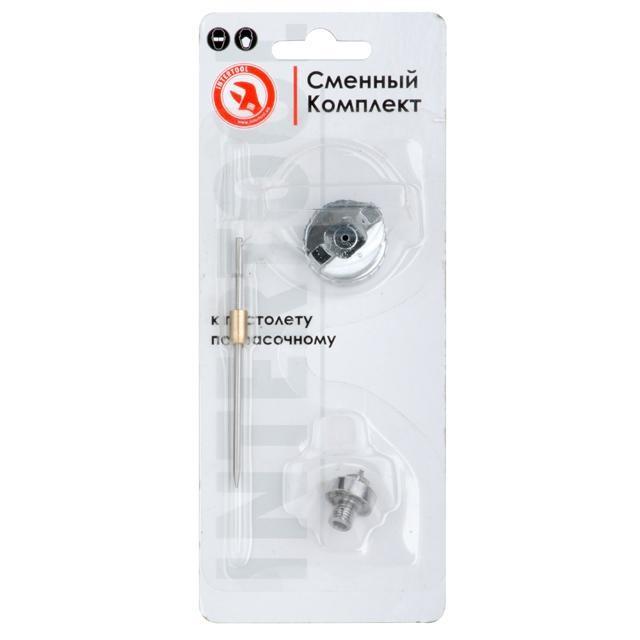 Комплект форсунки 0.8мм для краскопульта LVMP mini PT-0129 (дюза, воздушная головка, игла) INTERTOOL PT-2107
