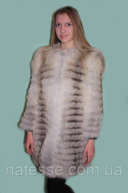 """Шуба Полушубок-жилет з білої канадської лисиці """"Фанні"""" в розпуск зі знімними рукавами Мод 20."""