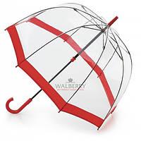 Женский прозрачный зонт-трость Fulton Birdcage-1 - L041 - Red (Красный)
