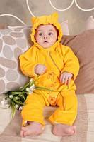 """Слингокомбинезон для новорожденного из велюра """"My baby"""" желтый"""