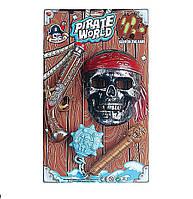 Пиратский набор B6668-3 (72шт/2) мушкет, маска, свет, звук, на планшетке 47*28*5,5см