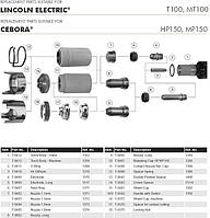 LINCOLN ELECTRIC PC 105, LINCOLN ELECTRIC MT 100 Электрод сопло сменные части
