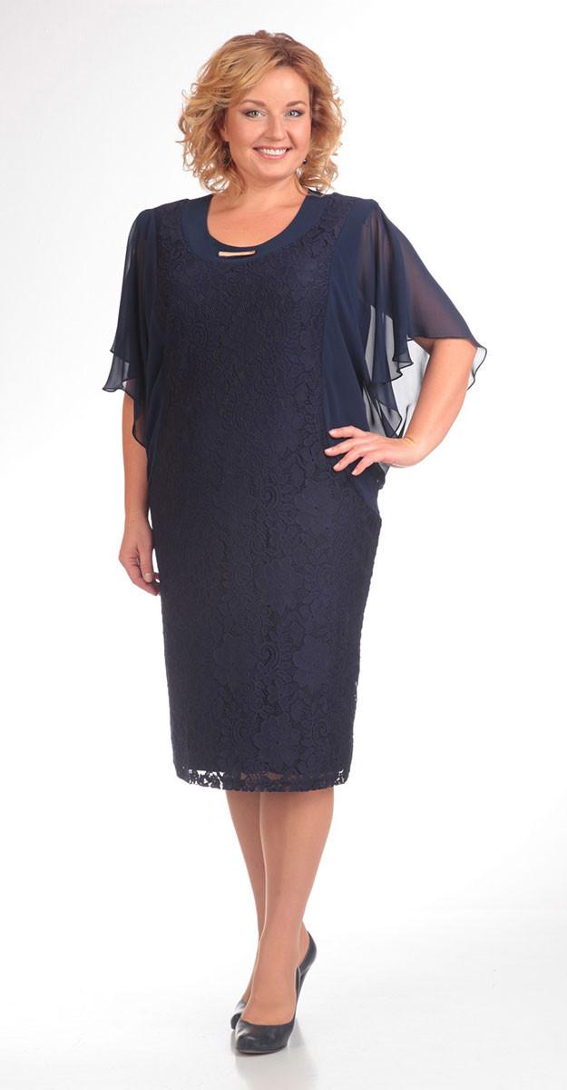 Платье Pretty-148 белорусский трикотаж, темно-синий, 54