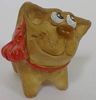 Кот с бантиком из глины статуэтка сувенир