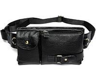 Мужская сумка из натуральной кожи на плечо или на пояс черная
