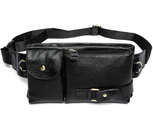 661b7fc36603 Мужская сумка из натуральной кожи на плечо или на пояс черная ...