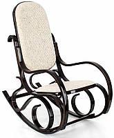 Кресло качалка, темное дерево, светлая оббивка