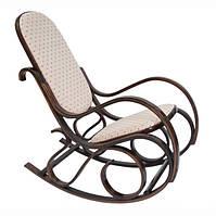 Кресло качалка, темное дерево, светлая ткань в точки