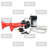 Звуковой сигнал воздушный 12v 2 дудки красный компрессор Elegant 100744
