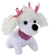 Мини-модница Пудель, белая собачка, с повязкой, 10 см. Chi Chi Love