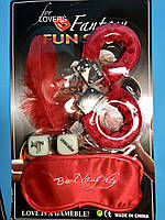 Подарочный Набор Сувенир для Любовных Игр Меховые Наручники Маска Светящиеся Кубики Камасутра Перышко