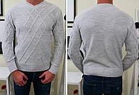 Мужской свитер зимний  фабричной вязки , светло-серый ! , фото 1