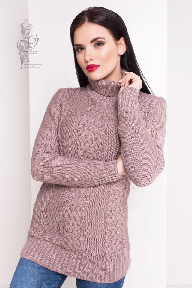 Цвет капучино Женского зимнего свитера теплого Сара
