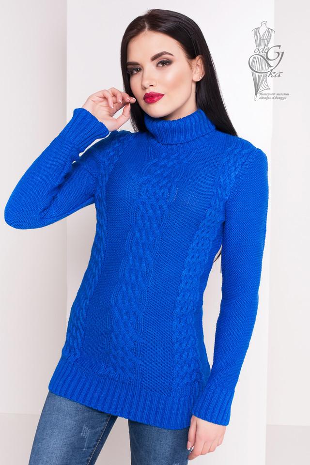 Цвет электрик Женского зимнего свитера теплого Сара