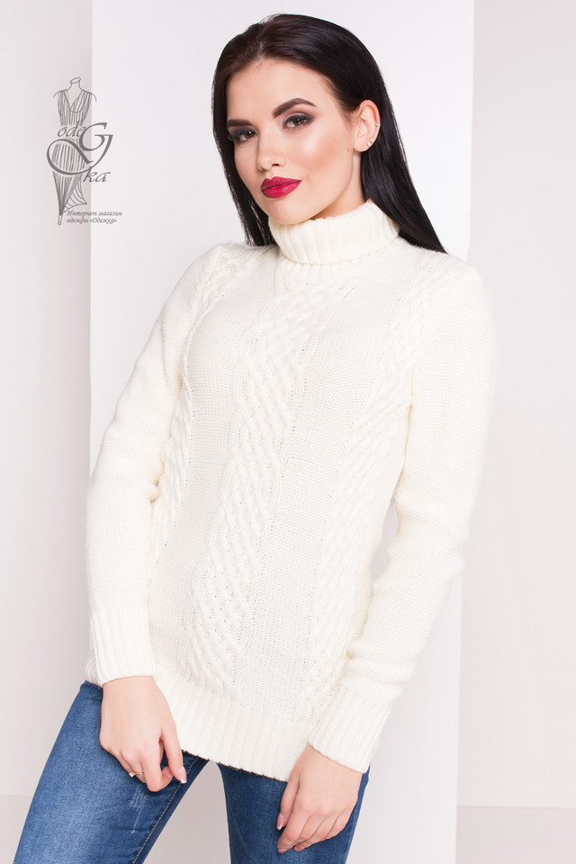 Цвет молоко Женского зимнего свитера теплого Сара