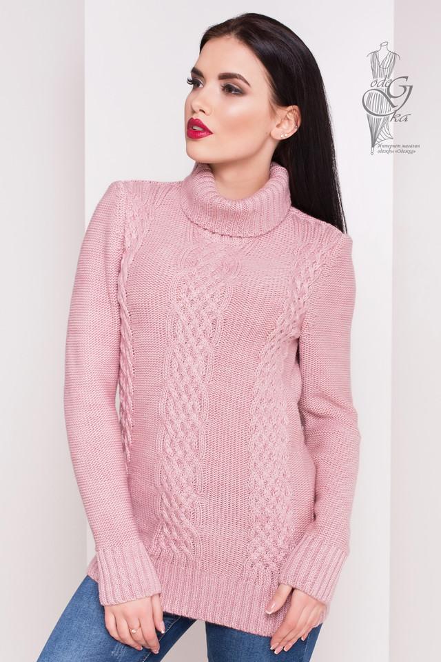 Цвет пудра Женского зимнего свитера теплого Сара