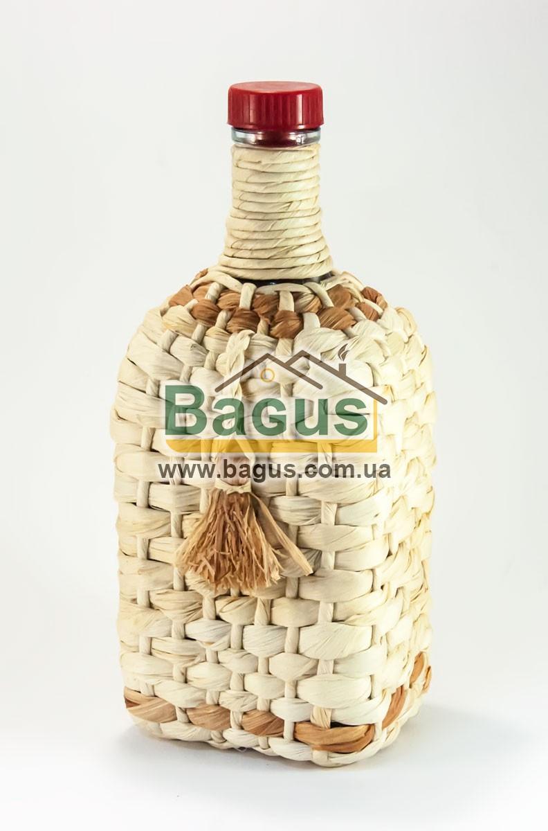 """Пляшка скляна 1,2 л з написом """"Штоф 1/10 відра"""" і пластиковою пробкою обплетена кукурудзою"""