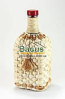"""Бутылка стеклянная 1,2л с надписью """"Штоф 1/10 ведра"""" и пластиковой пробкой оплетенная кукурузой"""