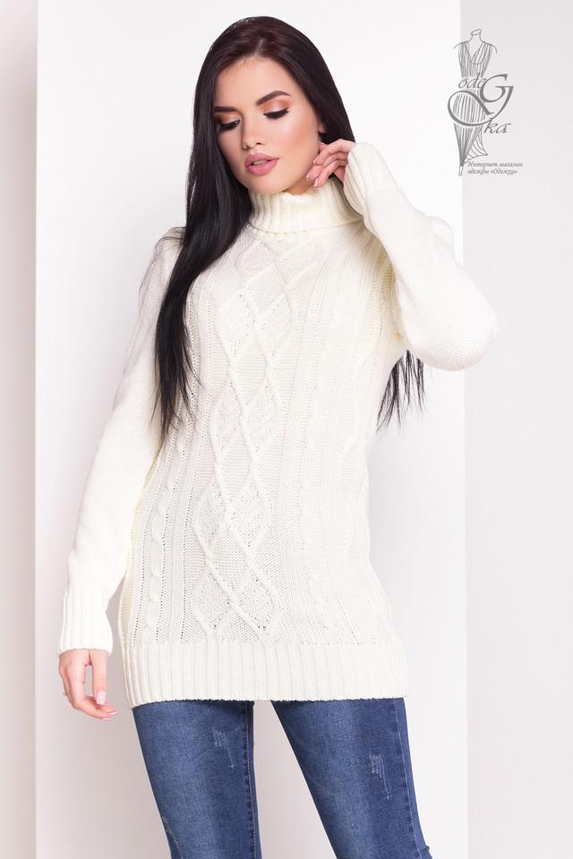 Цвет молоко Женского зимнего свитера теплого Зара
