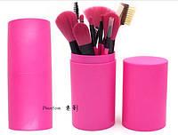 Кисти для макияжа 12 штук в тубусе (малиновые), фото 1