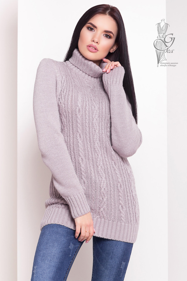 Светло-Лиловый цвет Женского зимнего свитера теплого Варвара