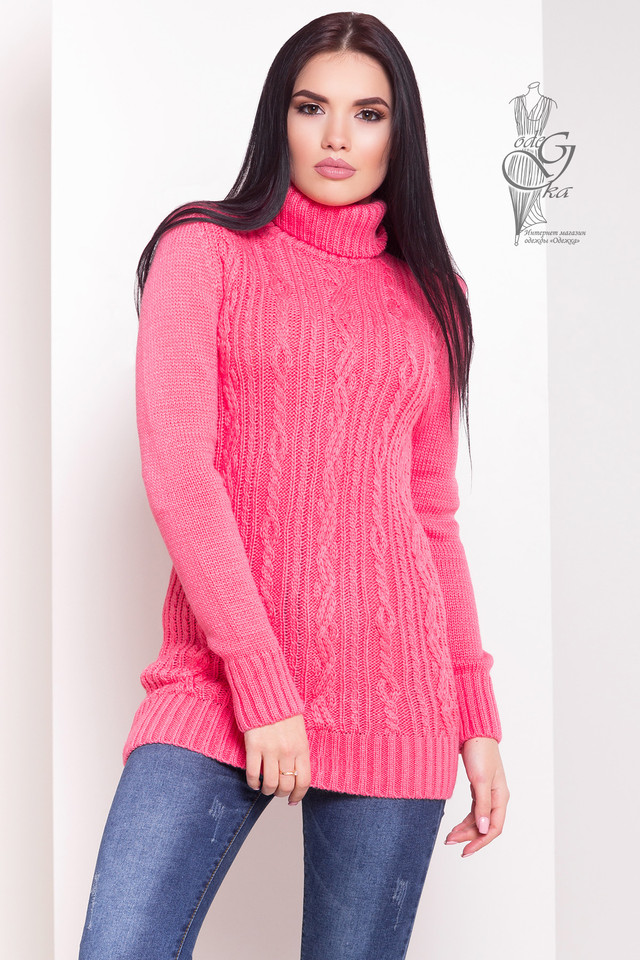 Цвет Малина Женского зимнего свитера теплого Варвара