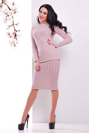 Костюм вязаный юбка джемпер размер единый 44-48 пудра, фото 2