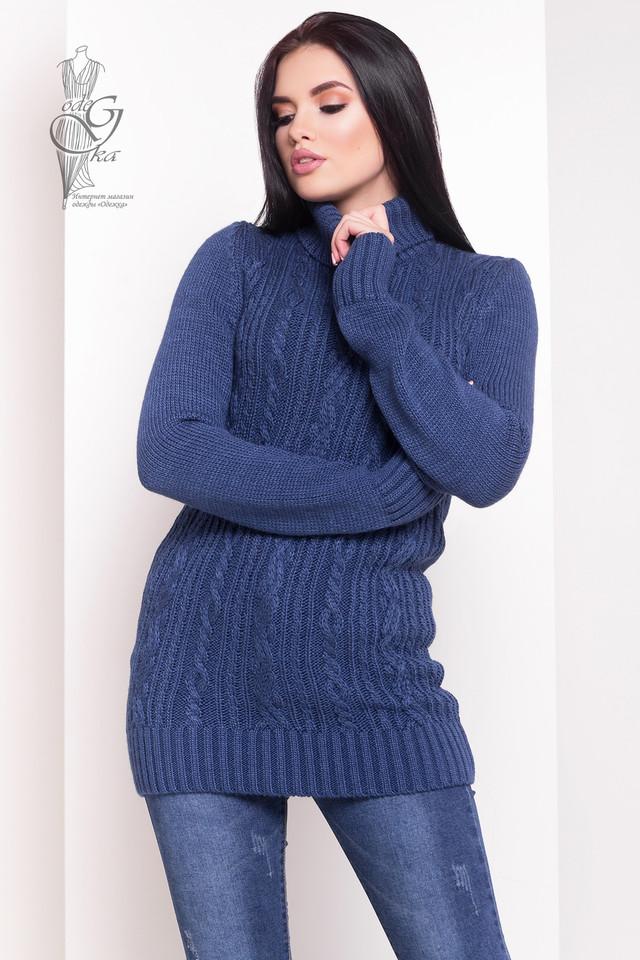 Цвет Джинс Женского зимнего свитера теплого Варвара