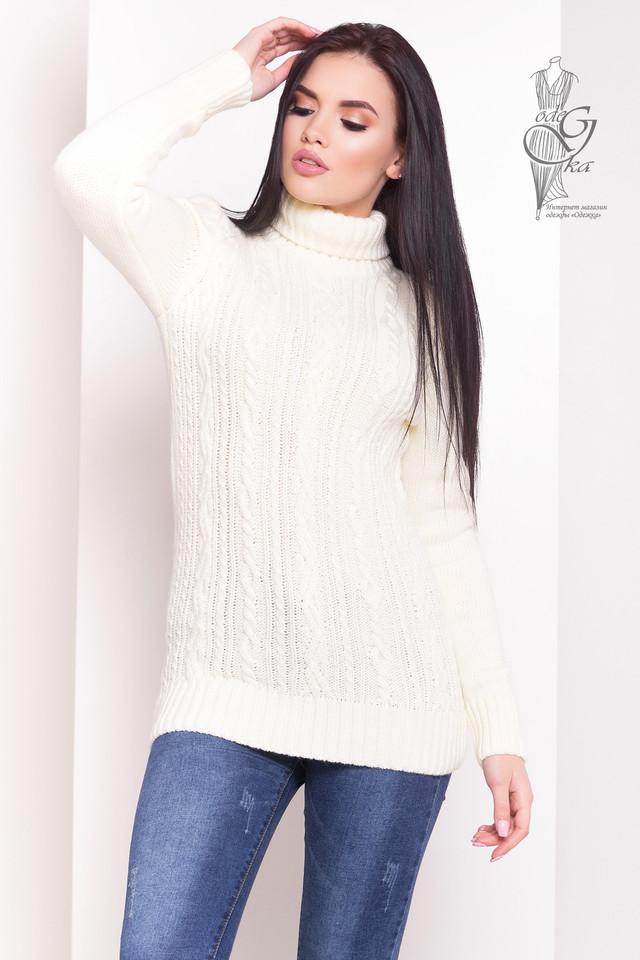 Цвет молоко Женского зимнего свитера теплого Варвара