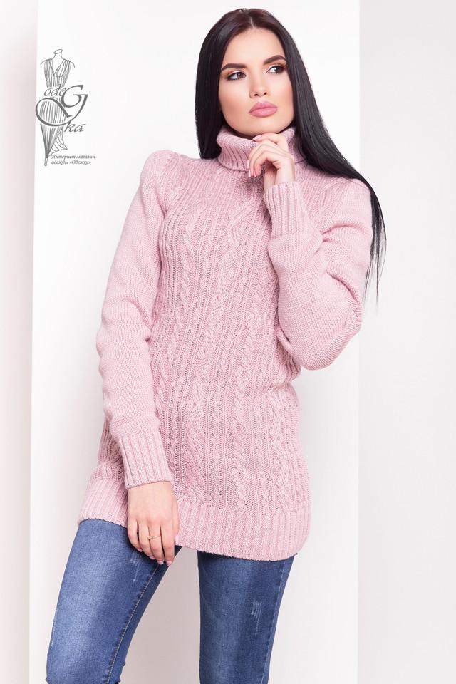Цвет пудра Женского зимнего свитера теплого Варвара