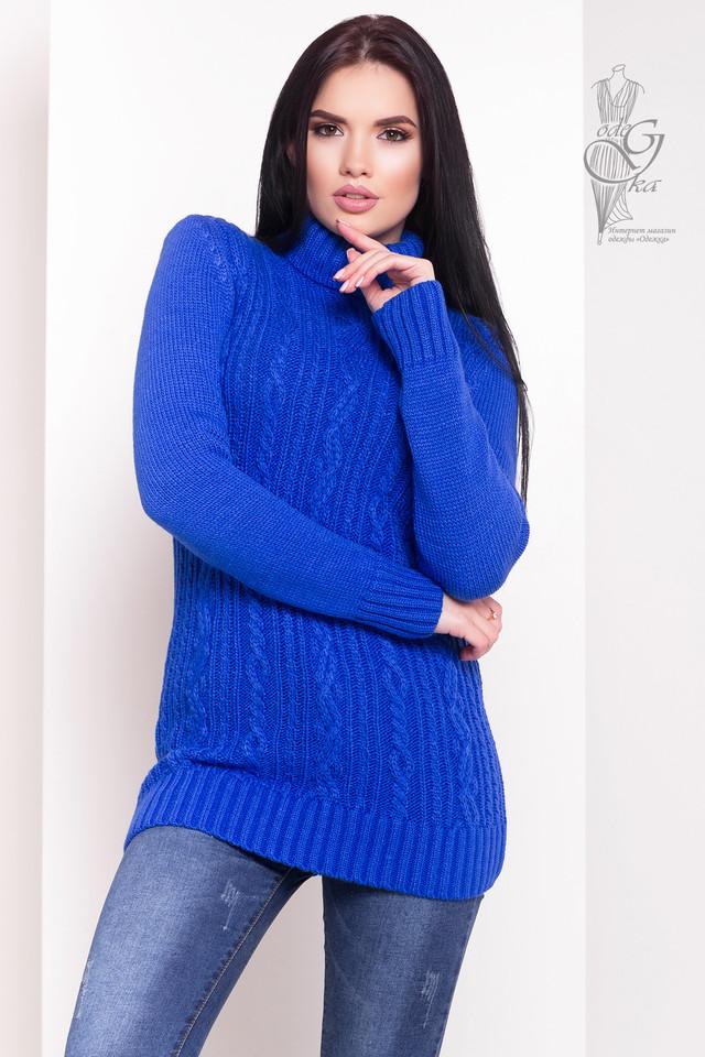 Цвет Электрик Женского зимнего свитера теплого Варвара