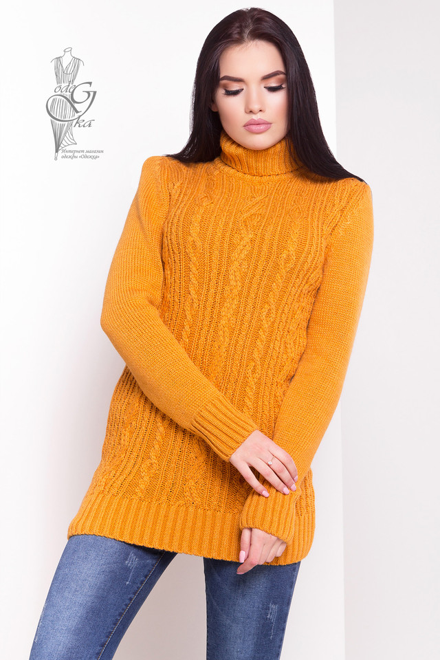Цвет горчица Женского зимнего свитера теплого Варвара