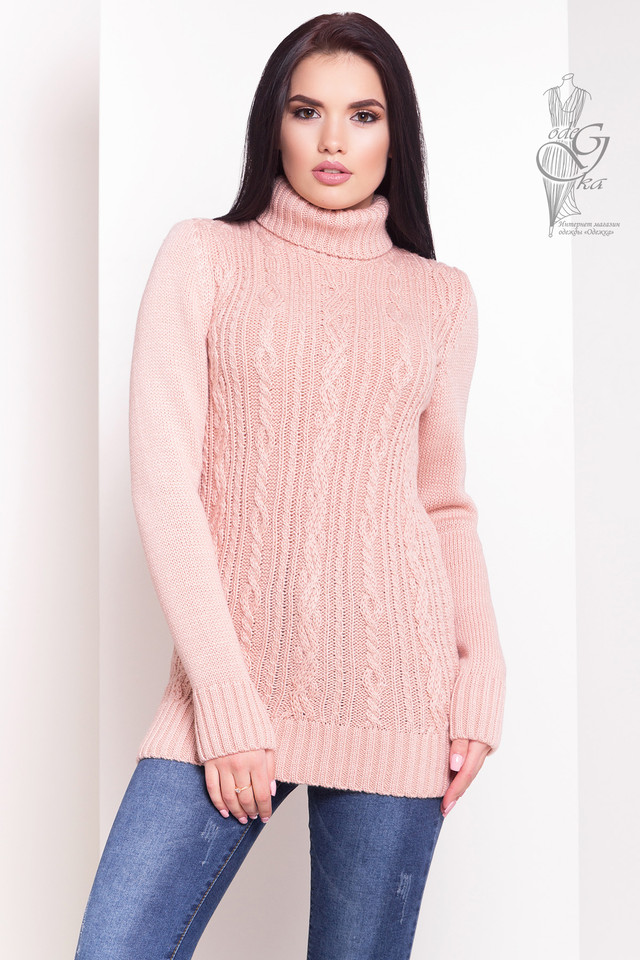Персиковый цвет Женского зимнего свитера теплого Варвара