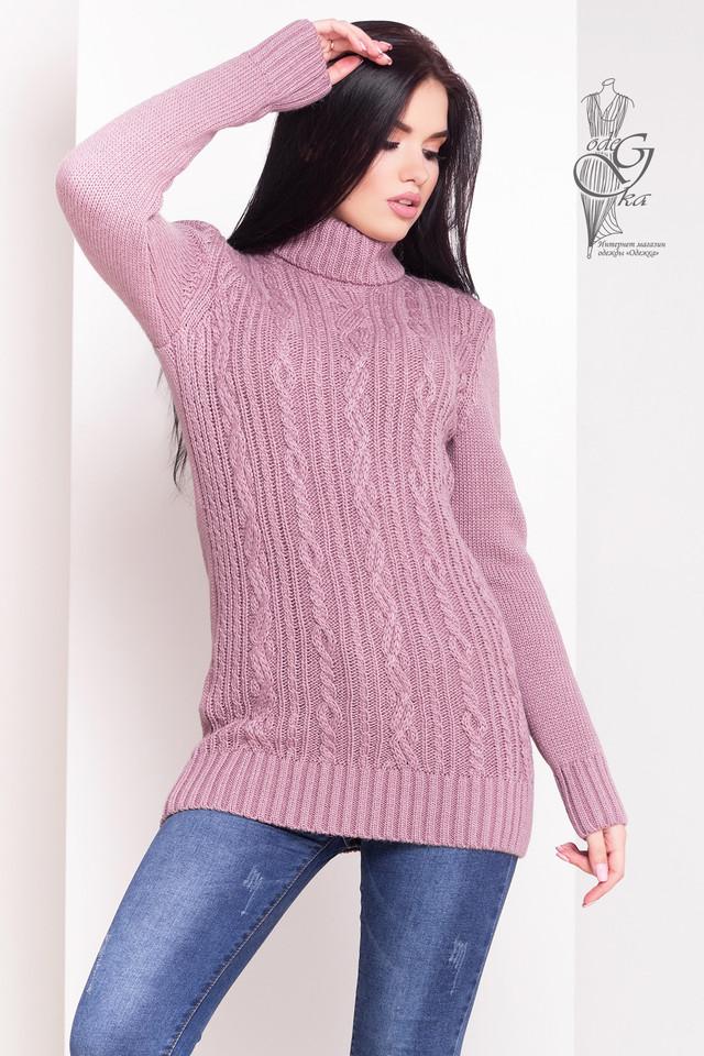 Темно-лиловый цвет Женского зимнего свитера теплого Варвара