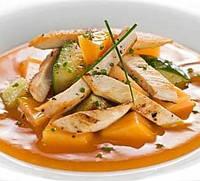 Салат из курицы и дыни