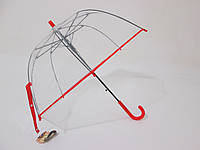 Детский зонт прозрачный зонт с красной окантовкой куполообразный 5-10 лет, фото 1