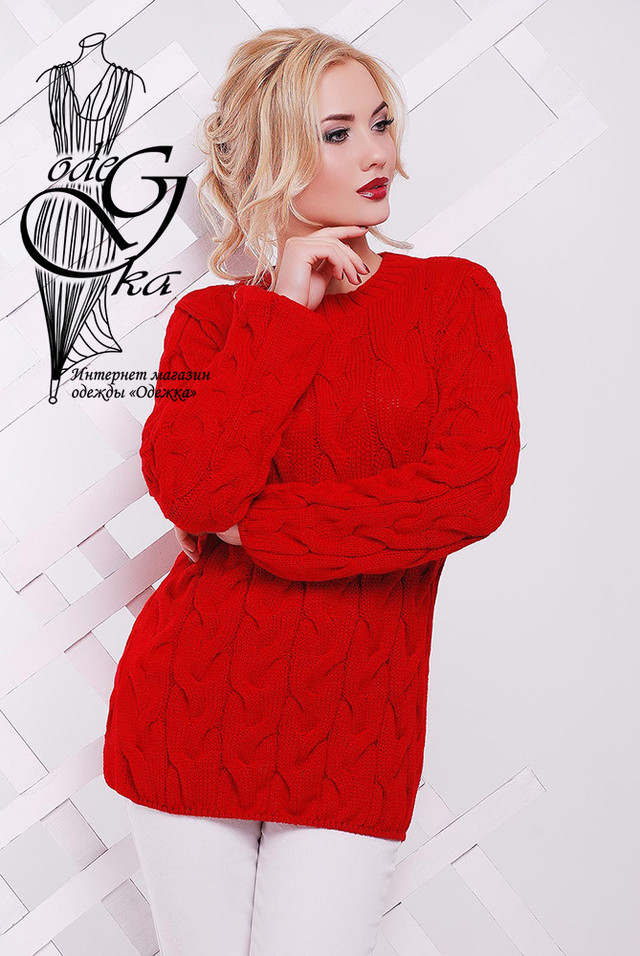 Красный цвет Зимних теплых свитеров Роксана