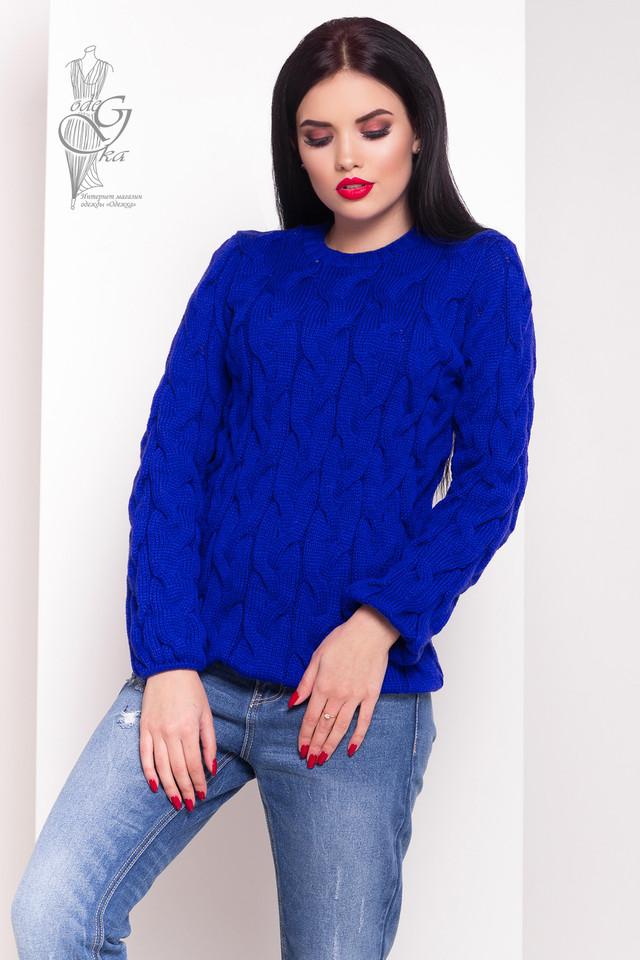 Цвет электрик Зимних теплых свитеров Роксана