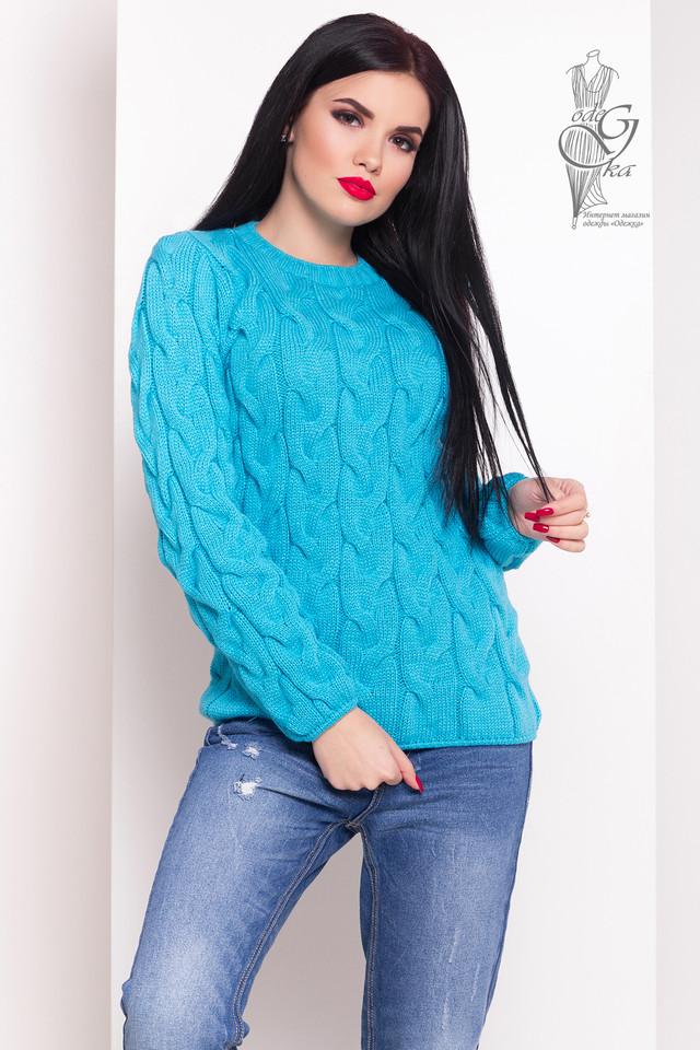 Бирюзовый цвет Зимних теплых свитеров Роксана